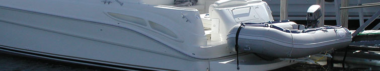 Davits, davit and davit systems for dinghies and inflatable boats to davit them on a yacht swim platform or hoist them on a sailboat.